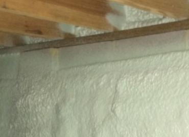 Crawlspace wall spray foam