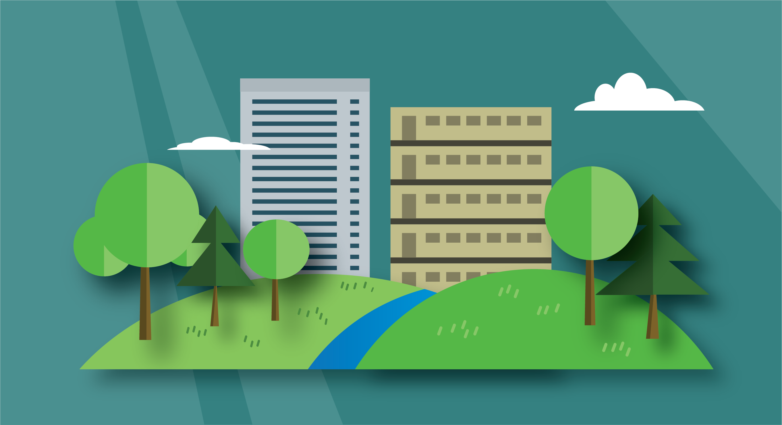 Buildings with landscape graphic