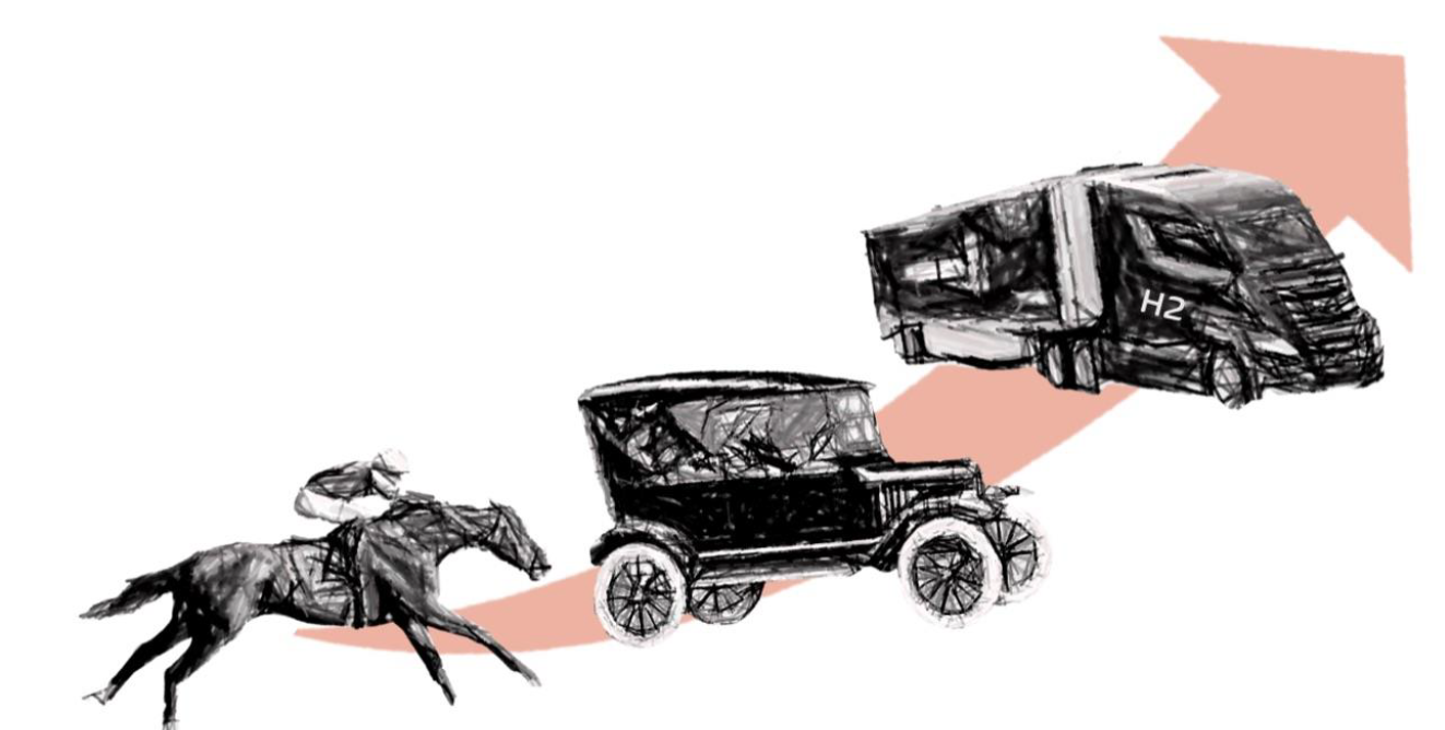 Image of horses, cars, and H2 trucks